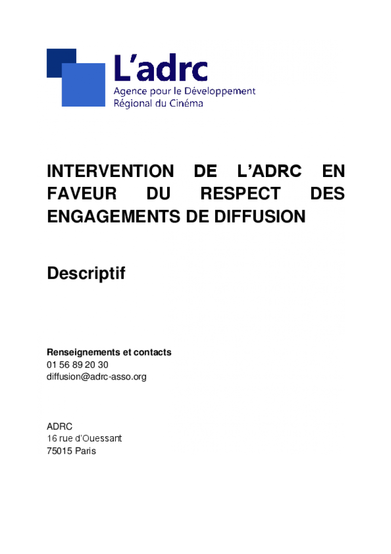 Engagements de diffusion ADRC