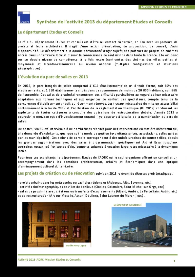 La synthèse du département études 2013