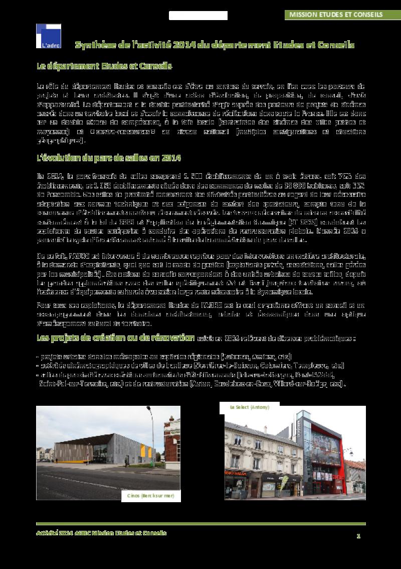 La synthèse du département études 2014