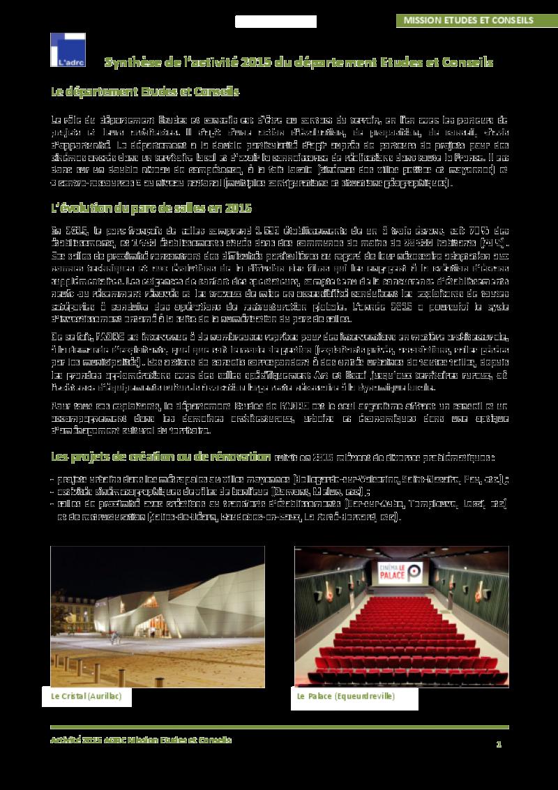 La synthèse du département études 2015