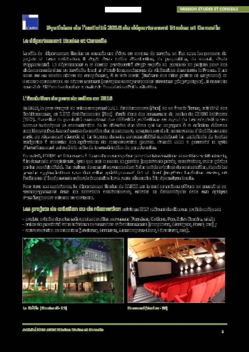 La synthèse du département études 2016
