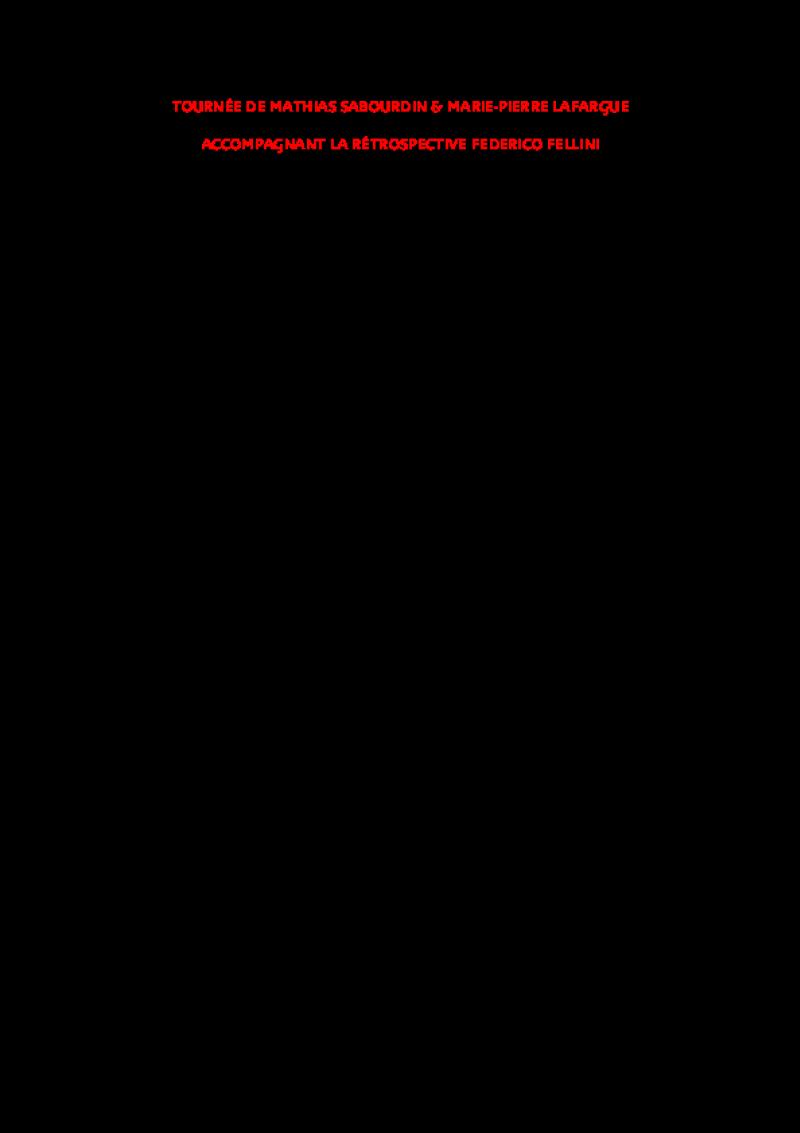 Cahier des charges - Conférences Fellini