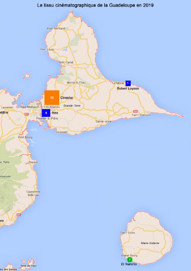 Carte de la Guadeloupe - Données CNC 2019