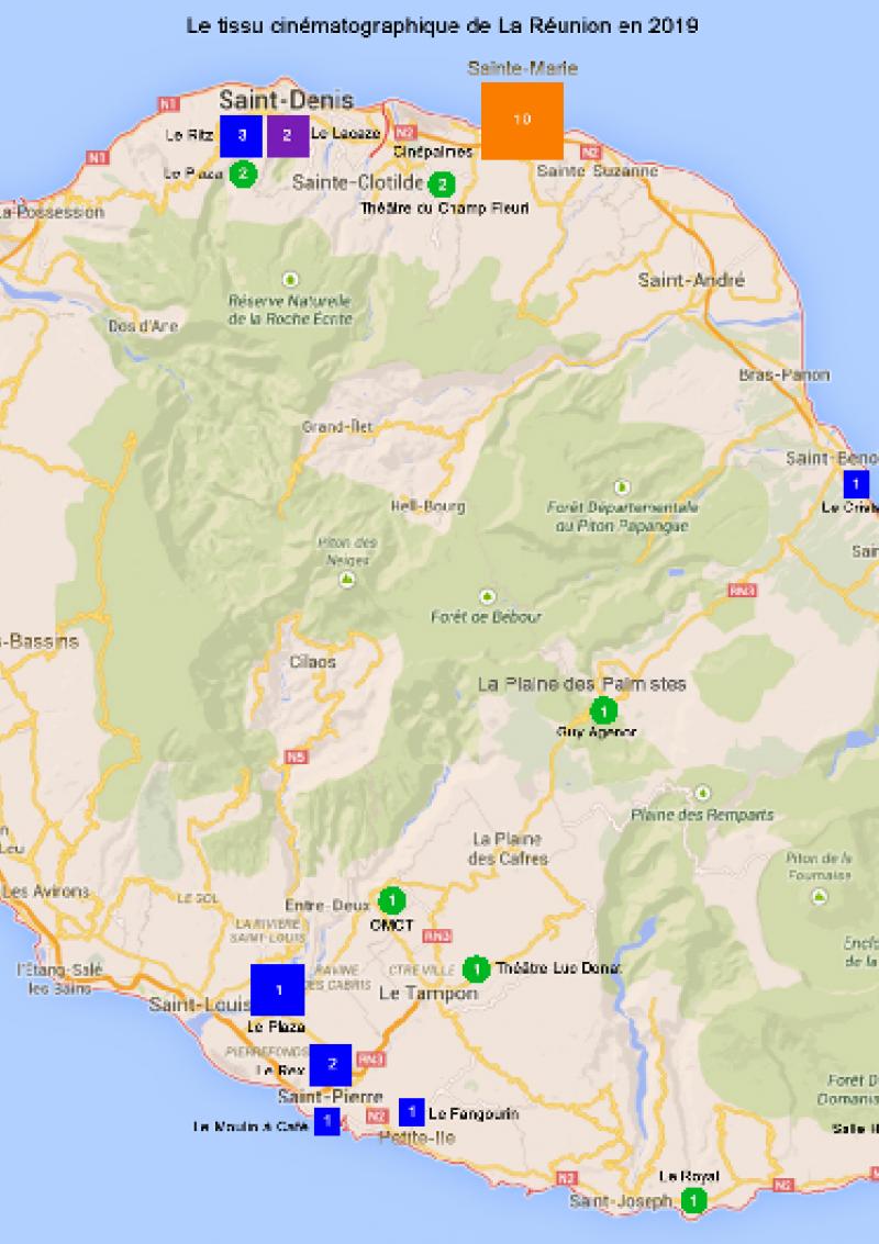 Carte La Réunion - Données CNC 2019