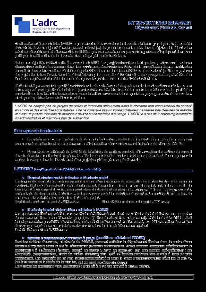 Tarifs Interventions Etudes 2020 - 2021